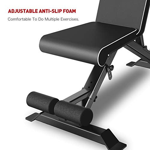 JOROTO Adjustable Weight Bench Strength Training Incline Decline Bench Full Body Workout Bench 8 Adjustable Angles Exercise Bench for Home Gym