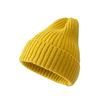 SHENGXILU Womens Winter Knitted Hat Beanie for Women Trendy Soft Knitted Candy Color Cap Winter Hat for Women Yellow