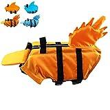 Snik-S Dog Life Jacket- Preserver with Adjustable Belt, Pet Swimming Shark Jacket for Short Nose Dog (Pug,Bulldog,Poodle,Bull Terrier,Labrador) (Orange 2, X-Small)
