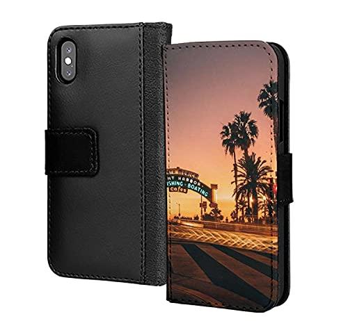 Road to Sunset Miami Beach Night Time PU Cartera de piel sintética en tarjeta de teléfono cubierta para iPhone 12