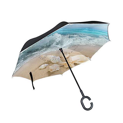 Double Layer Inverted Umbrella Winddichte Regensonnen-Regenschirme mit C-förmigem Griff - Muschel