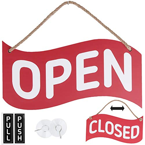 Open Closed Sign for Business – Bundle with 2 Suction Cup, Pull and Push Stickers - Red/Blue Double-Sided Open Signs for Business is The Ideal for Restaurant Stores Bar Windows or Doors (Red)