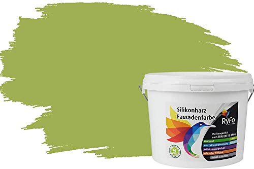 RyFo Colors Silikonharz Fassadenfarbe Lotuseffekt Trend Olivgrün 3l - bunte Fassadenfarbe, weitere Grün Farbtöne und Größen erhältlich, Deckkraft Klasse 1