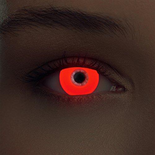 Designlenses Incandescente Lenti a Contatto Colorate Rosso Senza diottrie per Halloween Costume + Gratis Caso di Lenti Modello Glowing Red