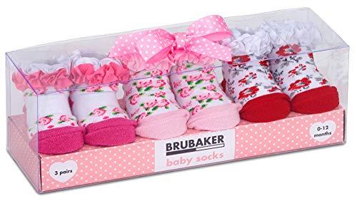 BRUBAKER 3 Paar Babysocken Mädchen 0-12 Monate - Blumen & Rüschen