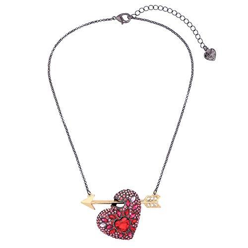 MDHANBK Collar de Mujer Cadena de Oro Negro Cristal Rojo Corazón Flecha Collar con Colgante Fiesta de Bodas