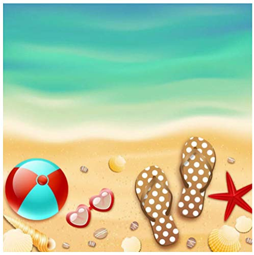 Mooie Strand Shell Schoenen hoed Zee Natuur Landschap HDHome Decoratie Vloerbehang muurschildering PVC Waterdichte zelfklevende Slaapkamer Woonkamer Badkamer 3D Sticker Customization 450(w)x300(H)cm