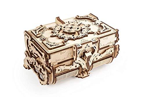 UGEARS Schatulle 3D Modellbausatz Holztruhe-3D Holzbausatz Schatzkiste-3D Puzzle Erwachsene Box (Antik-Schatulle)