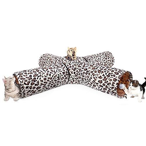 PAWZ Road Katzentunnel im Leoparden Design 4 Wege, Faltbar mit Spielball für Katzen Kätzchen Durchmesser:25cm
