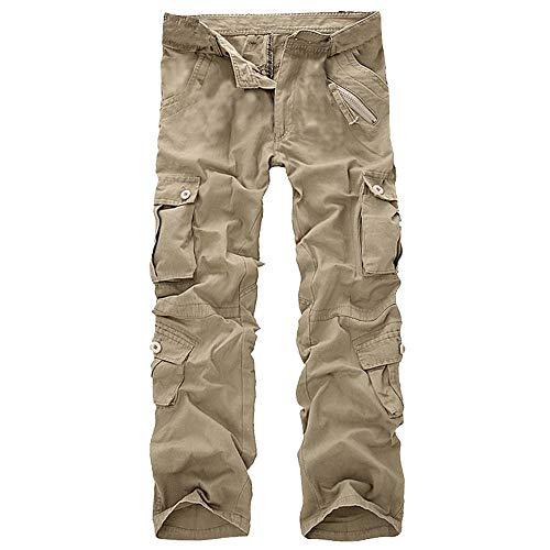 GreatestPAK Herren Einfarbig Mehrere Taschen Arbeitshosen Mode Lässig Baumwolle Multi-Tasche Outdoor Arbeitshose Lange Cargohose Hosen