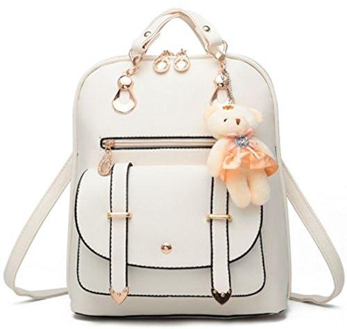 Bolso de hombro de la escuela de cuero sintético de la manera de la muchacha de las mujeres Mochila del viaje de la mochila (Blanco)