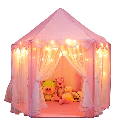 Orian Princess Castle Playhouse Tent for Girls with LED Star Lights – Indoor & Outdoor Large Kids Play Tent for Imaginative & Pretend Games – ASTM Certified, Princess Toys. 55x53 inch (Pink Tent)