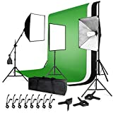 LIMOSTUDIO, AGG1459, 10 ft. Backdrop Support Stand Light Softbox Lighting Kit with 10 ft. White Black Green Background Screen Backdrop for Photo Studio