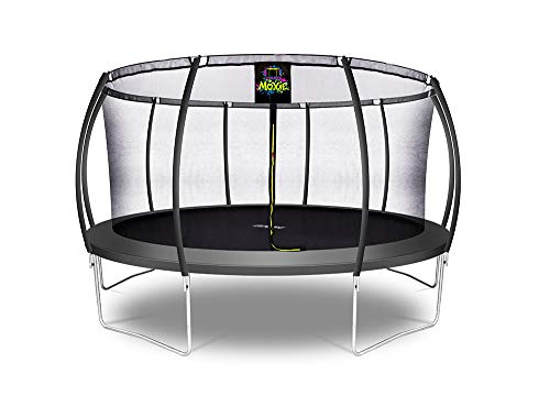 Moxie by Upper Bounce 10 FT Pumpkin-Shaped Outdoor Trampoline with Enclosure – Sturdy Top-Ring Enclosed Trampoline with Safety Pad | TUV Certified Backyard Trampoline for Kids – Charcoal