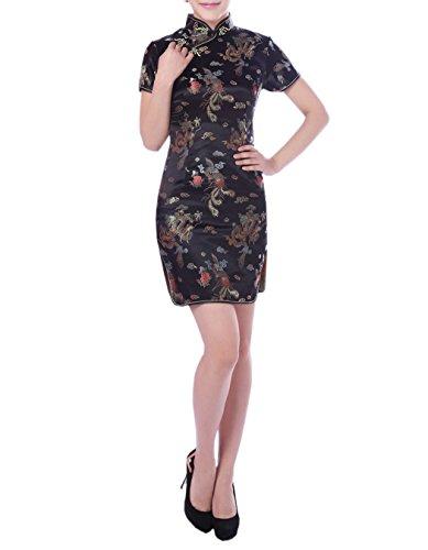 XueXian(TM) Mujer de Elegente Qipao de Estilo Oriental con Furcal(China L/EU 38,negro)