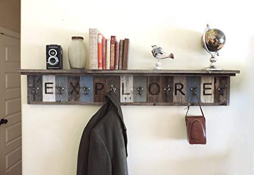 "Personalized Reclaimed Wood Coat Rack Barn Wood hooks w/ 4"" Deep Shelf"