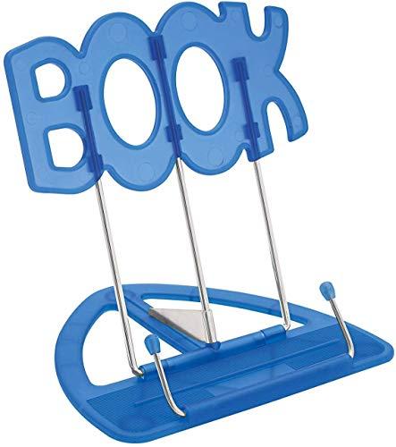 Wedo 21119903 Leseständer Book (aus Kunststoff, stufenlos verstellbar, vernickelte Bügel) blau (Blau | 3er)