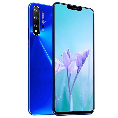 Teléfono móvil Dual SIM 4G, teléfono Inteligente NW6Pro Desbloqueado, Pantalla de Gota de Agua de 6.5 Pulgadas, cámara Triple, reconocimiento de Rostro y Huella Digital, Azul