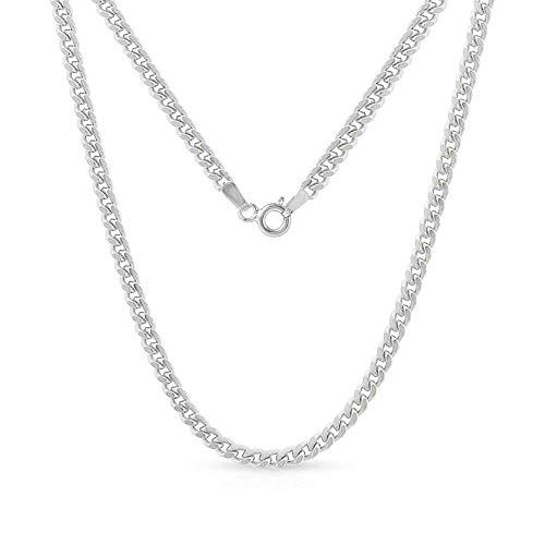 Verona Jewelers Cadena cubana clásica de plata de ley 925 italiana, 1,5 mm, 2,1 mm, para hombres y mujeres
