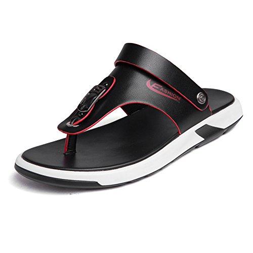 YANGFAN Zapatos de Cuero, Zapatos Casuales, Trabajo, al ai Zapatillas para Hombres, Zapatos de Playa y Zapatillas, Sandalias Suela con Correas de Interruptor. (Color : Black, Size : 9MUS)