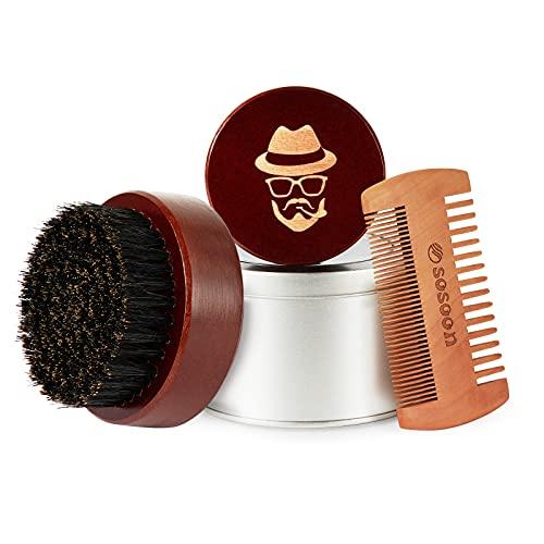Beard Brush, 100% Boar Bristle Black Walnut Wood Beard Comb Brush for Men To Tame and Soften Your Facial Hair