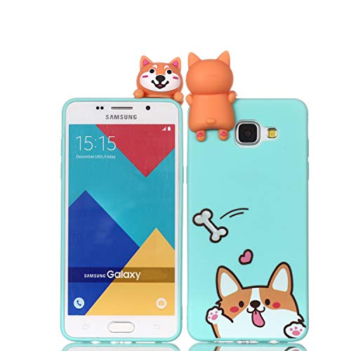 LAXIN Cartoon TPU Case for Samsung Galaxy A3 (2016) / A310,Soft 3D Silicone Case,Cute Smiling Dog Animal Rubber Cover,Cool Kawaii Cartoon Gel Cover for Kids Girls Fun Soft Silicone Shell