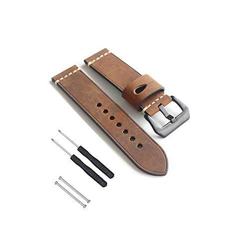 Feicuan Banda de reloj de cuero genuino para Garmin Fenix 3 HR, 26mm correa de cuero Vintage pulsera de reemplazo ajustable para Fenix 5X (café)
