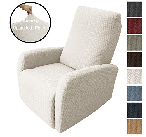 Obytex 4 Pieces Stretch Recliner Chair Cover Polyester and Spandex Upgrade Pattern Couch Covers Dog Cat Pet Slipcovers Furniture Protectors,Machine Washable (Recliner, Style2 Cream)