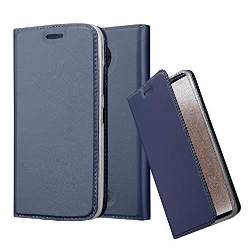 Cadorabo Hülle für Motorola Moto C Plus in Classy DUNKEL BLAU - Handyhülle mit Magnetverschluss, Standfunktion & Kartenfach - Hülle Cover Schutzhülle Etui Tasche Book Klapp Style