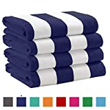Great Bay Home 4 Pack Plush Velour 100% Cotton Beach Towels. Cabana Stripe Pool Towels for Adults. (Navy, 4 Pack- 30' x 60')