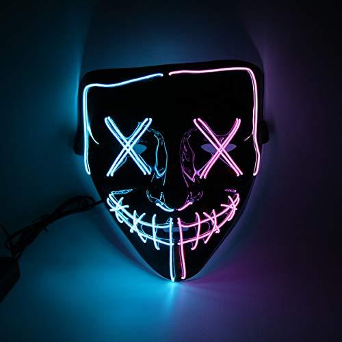 Halloween Costume Festival Parties Scary Mask LED Light Up Masks (blue + purple)