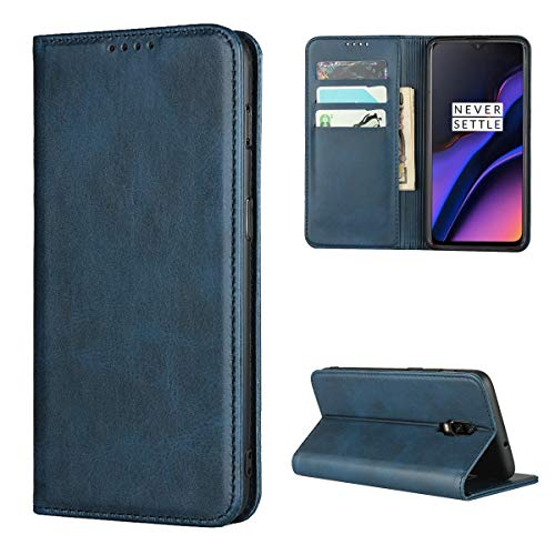 Copmob Coque Oneplus 6T,Premium Flip Portefeuille Étui en Cuir,[3 Fentes pour Cartes][Fonction de Support][Fermeture magnétique],Housse Etui pour Oneplus 6T - Bleu