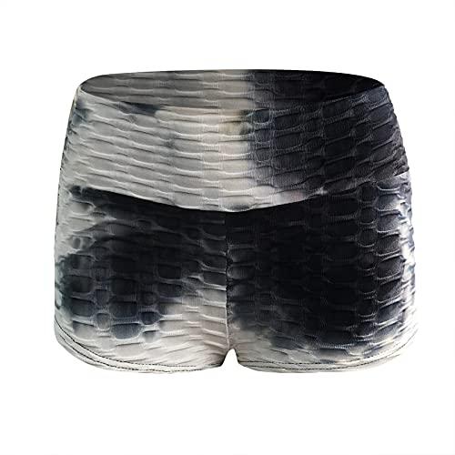 Junjie Leggins Push Up Mujer Baratos Cortos Cintura Alta Hollow Mallas de Deporte de Mujer Tie-Dye Panal Arrugado Pantalones Deportivos