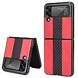 Coque Adecuado para Samsung Galaxy Z Flip3 5G, Samsung Galaxy Z Flip3 5G Caja de teléfono móvil con patrón de Lichi de Empalme de Fibra de Carbono(Rojo)