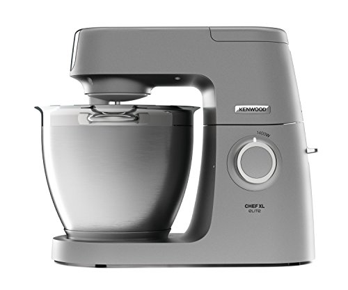 Kenwood Chef Elite XL Stand Mixer for Baking- Powerful, Large Food Mixer, with K-beater, Dough Hook, Whisk and 6.7 Litre Bowl, 1400 W, KVL6100S, Silver