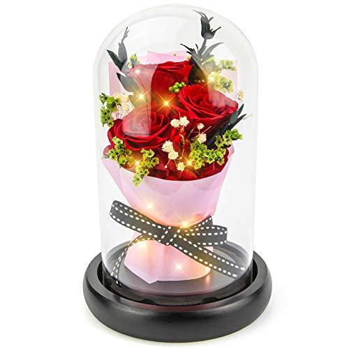 Forever Flowers Echte Ewige Rosen – Kylin Glory konservierte Blumen Geschenk mit LED Stimmungslichter für Valentinstag Geburtstag Jahrestag (Grande Red)