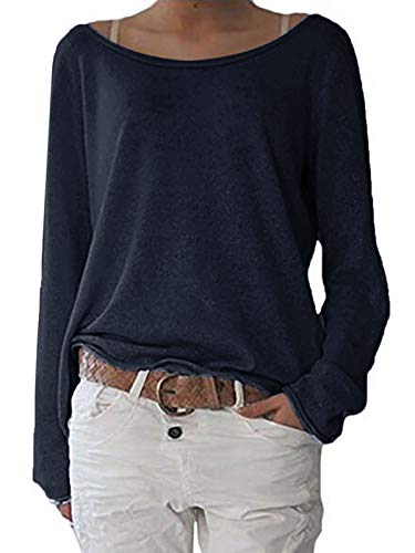 ZANZEA Damen Langarm Lose Bluse Hemd Shirt Oversize Sweatshirt Oberteil Tops Dunkelblau EU 46/Etikettgröße XL