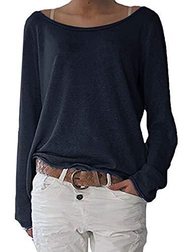 ZANZEA Damen Langarm Lose Bluse Hemd Shirt Oversize Sweatshirt Oberteil Tops Dunkelblau EU 36-38/Etikettgröße S