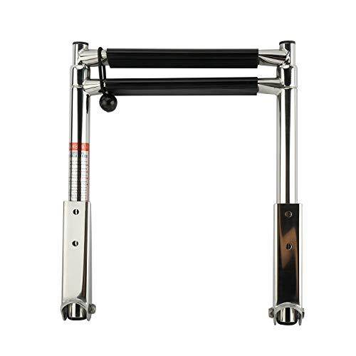 FreeTec escalera de acero inoxidable para barcos escalera de baño telescópica antideslizante escalera de piscina (con 2 peldaños)