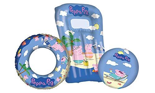 Lively Moments Strandset 3-teilig Peppa Pig / Familie Wutz mit Wasserball, Schwimmring & Luftmatratze