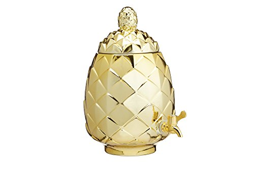 Kitchencraft Barcraft – Tropical Chic cristal piña dispensador de bebidas, 6 litros (10,5 ml) – acabado metálico, oro, 3,5 x 18 x 34 cm