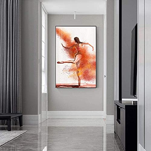 Obra de arte Pintura Danza abstracta Carteles de niña de ballet Impresiones de moda rosa nórdica Cuadros de acuarela para la decoración de la sala de estar 50x70cm sin marco