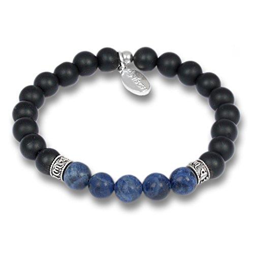 Anisch de la Cara Hombre Pulsera Lapislázuli - Pulsera de Piedras Preciosas de Cuentas de Mantra para Hombres con Plata de Ley, 8 mm Mantra Beads - Arte no 93350-f