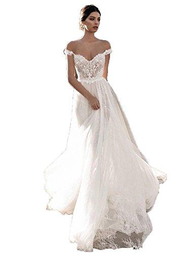 Top 10 Best Bohemian Lace Off the Shoulder Wedding Dress Comparison