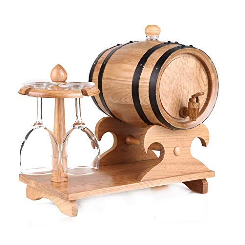 LSNLNN Botelleros, Barril de Vino de Roble de 3 Litros con Soporte Organizador de 4 Copas de Vino, para Alenar Su Propio Whi, Cerveza, Tequila, Bourbon, Whi, Vino,Color de Registro