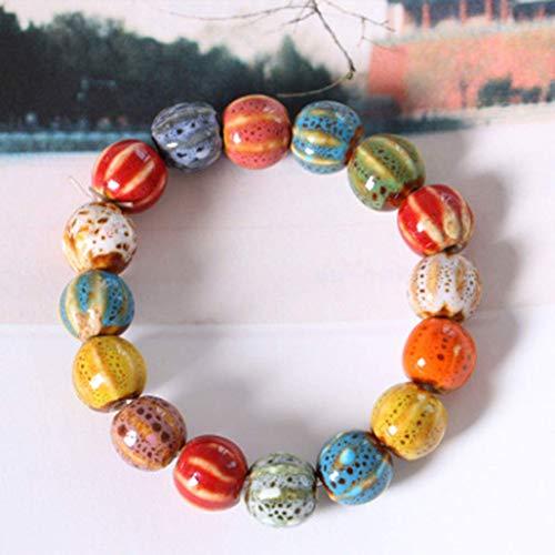 YuzhouGJ Desirable Herzförmige Vintage Perlen Damen Armband Bohème Keramik Stein Anhänger Damen Armreifen Mode Yoga Geschenk in Fein Stil - Klein Wassermelone