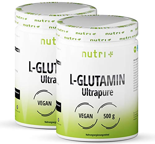 L-GLUTAMINE 1kg Pulver Ultrapure - 99,95% rein - hochdosiert ohne Zusatzstoffe - Vegan - Doppelpack 1000g - Nutri-Plus L-Glutamin Powder - laborgeprüft - glutenfrei - zuckerfrei