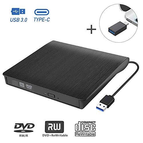 tronisky Externes CD DVD Laufwerk, USB 3.0 und Type-C Tragbare CD/DVD-RW Brenner Player und -Lesegerät, Plug&Play, für Laptop, Desktop, MacBook, Windows XP/Vista/7/8/10, Linux, Mac OS