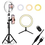 10.2' Selfie Ring Light with Tripod Stand & Cell Phone Holder for Live Stream/Makeup, QI-EU Mini Led Camera Ringlight for YouTube Video/Photography/Tiktok Compatible with iPhone and Android Smartphone
