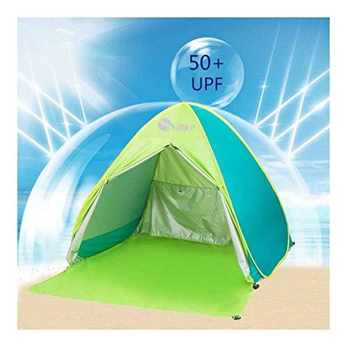 JIADUOBAO-E Portable New With Zipper Door Pop UpBeach Tent Outdoor Anti UV Beach Shade Tent Sun Shelter Automatic Instant Family Cabana for Camping Beach Fishing Garden (Mix- Green) E